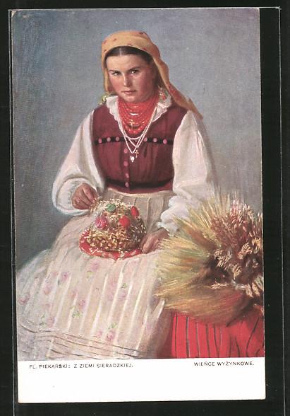Künstler-AK polnische Bäuerin in Tracht mit Kuchen