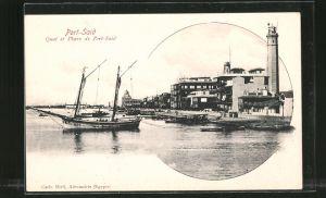 AK Port-Said, quai et phare de Port-Said, Leuchtturm