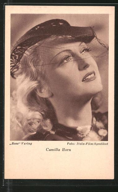 AK Schauspielerin Camilla Horn mit Hut posierend