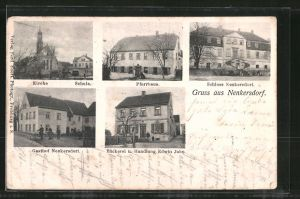 AK Nenkersdorf, Kirche, Schule, Pfarrhaus, Schloss Nenkersdorf, Gasthof Nenkersdorf, Bäckerei und Handlung Edwin Jahn