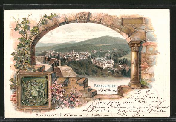 Passepartout-Lithographie Badenweiler, Gesamtansicht, Wappen
