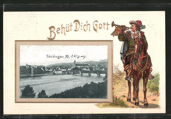 Passepartout-Lithographie Bad Säckingen, Ortsansicht aus der Vogelschau, Behüt Dich Gott!