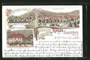 Lithographie Bad Lauterberg, Gesamtansicht, Gasthaus Wilh. Witte, Partie am Scholbenwehr