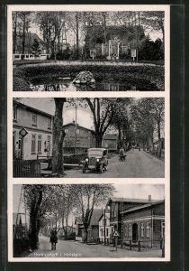 AK Beringstedt, Kriegerdenkmal am Weiher, Strassenpartie am Bahnhof