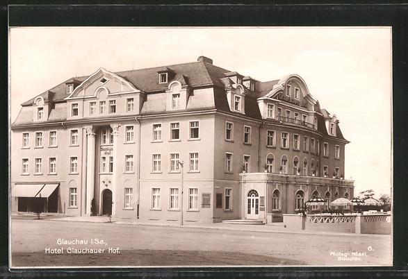 AK Glauchau, Blick zum Hotel Glauchauer Hof