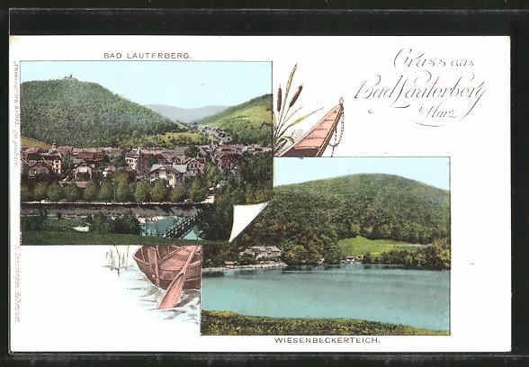 AK Bad Lauterberg, Ortsansicht aus der Vogelschau, Wiesenbeckerteich
