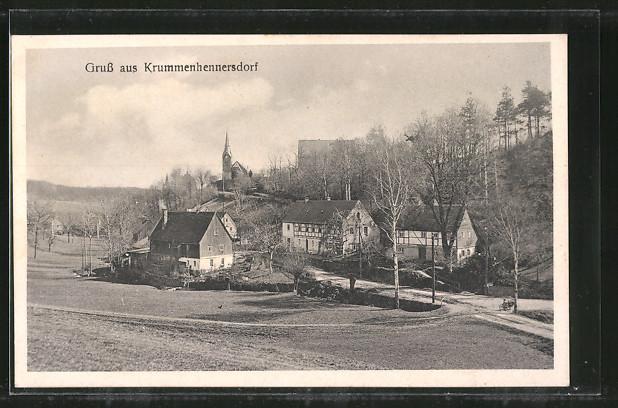 AK Krummenhennersdorf, Ortsansicht vom Hügel aus