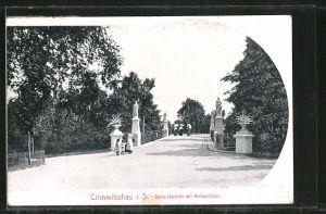 AK Crimmitschau, Bismarckbrücke mit Bismarckhain