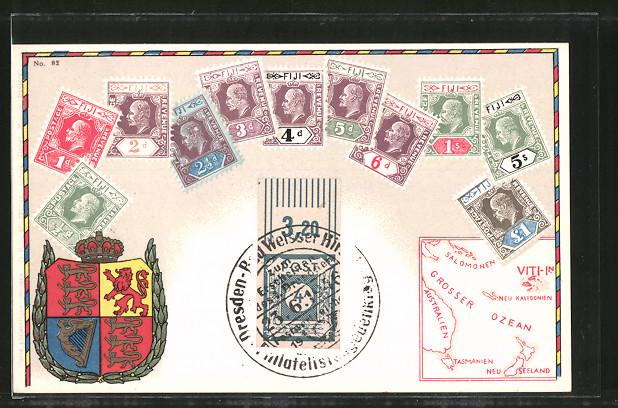 AK Fiji, versch. Briefmarken, Wappen, Landkarte