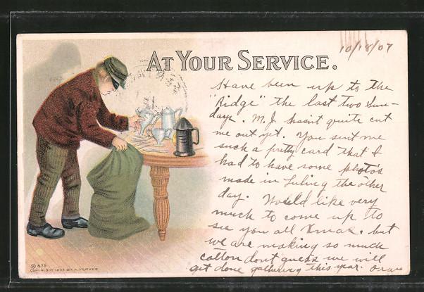 Lithographie At your service, Dieb beim Stehlen, Einbrecher