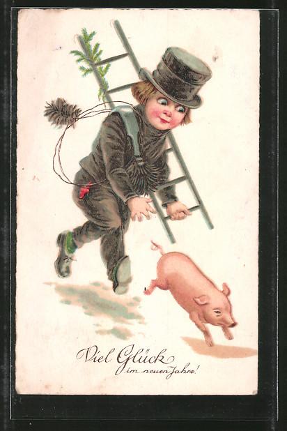 AK Viel Glück im neuen Jahre, Kleiner Schornsteinfeger jagt Schwein