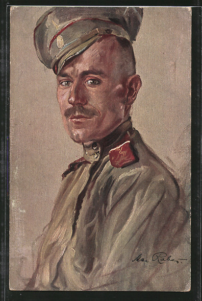 Künstler-AK Max Rabes: Russe, Portrait eines Soldaten