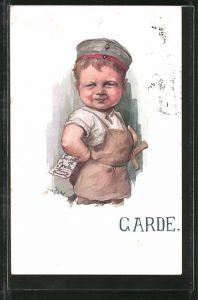 Künstler-AK H. Zahl: Garde, Junge mit Krätzchen und Holzschwert