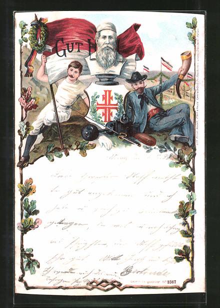 Lithographie Gut Heil, Turner und Büste von Ludwig Jahn