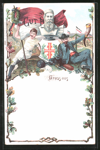Lithographie Gut Heil, Büste von Ludwig Jahn und Turner