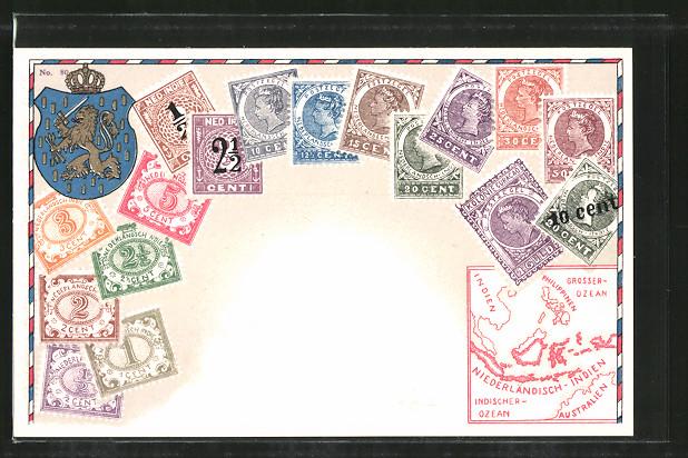 AK Briefmarken von Nederlandsch-Indie, Wappen und Landkarte