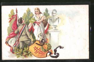 Lithographie Turner mit Fahne und Schärpe empfängt einen Eichenkranz, Turnvater Jahn-Büste