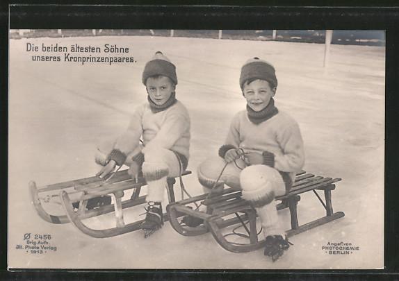 AK Prinz Wilhelm mit seinem Bruder auf dem Schlitten