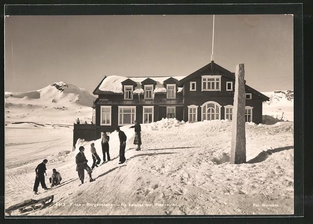 AK Finse, Bergensbanen fra Hotellet mot Finsenuten