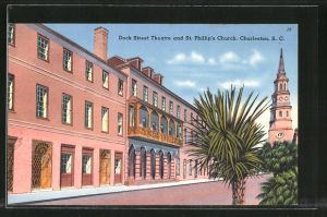 AK Charleston, SC, Dock Street Theatre and St. Philip's Church