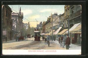 AK Leicester, Strassenbahn auf der Granby Street