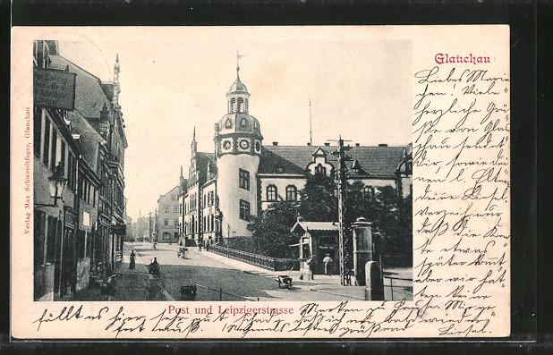 AK Glauchau, Leipzigerstrasse mit Post