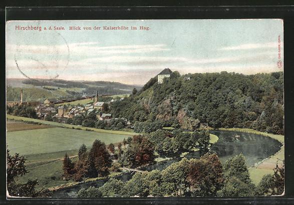 AK Hirschberg, Blick von der Kaiserhöhe zum Ort