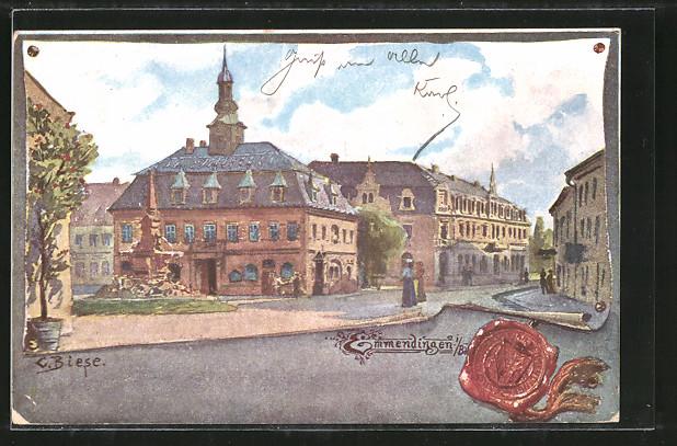 Künstler-AK Carl Biese: Emmendingen, Strassenpartie am Rathaus, Siegel