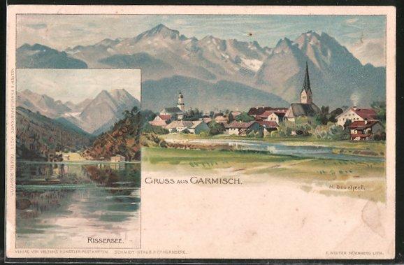 Künstler-Lithographie Heinrich Deuchert: Garmisch, Blick über den Rissersee, Ortspanorama