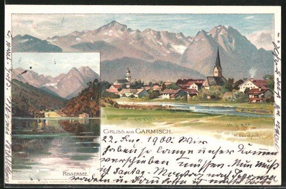 Künstler-Lithographie Heinrich Deuchert: Garmisch, Partie am Rissersee, Blick zum Ort