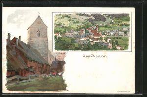 Künstler-Lithographie Karl Mutter: Schönau, Partie an der Kirche, Gesamtansicht