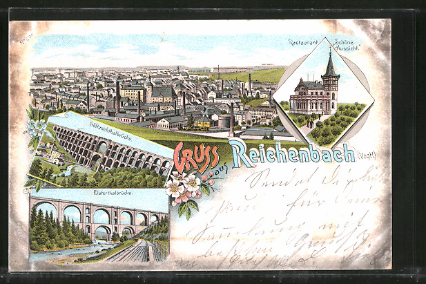 Lithographie Reichenbach, Restaurant zur schönen Aussicht, Göltzschtalbrücke, Elstertalbrücke