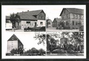 AK Semmenstedt, Ehrenmal, Speicher, Geschäftshaus H. Meyer, Gasthaus zur Linde