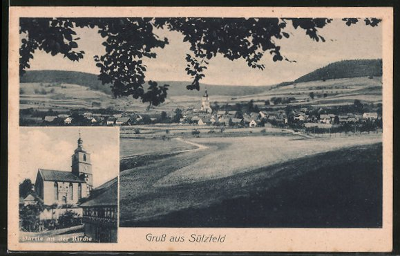 AK Sülzfeld, Partie an der Kirche, Ortsansicht aus der Ferne