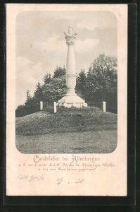 AK Altenbergen, Candelaber zur Erinnerung an die erste christl. Kirche des Thüringer Waldes