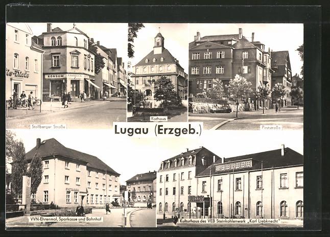 AK Lugau, Rathaus, Poststrasse, Kulturhaus des VEB Steinkohlenwerk