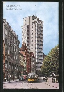 AK Stuttgart, Tagblatt-Turmhaus und Strassenbahn