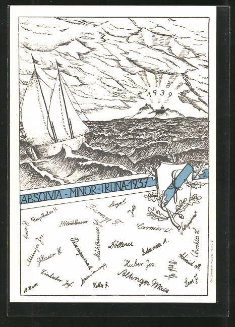 AK Traunstein, Absolvia Minor Truna 1937, Segelboot auf dem Meer