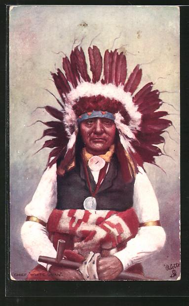 AK Indian Chiefs, White Swan, Häuptling mit Federschmuck