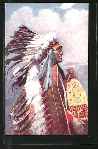 AK Indian Chiefs, Stranger Horser, Häuptling mit Federschmuck