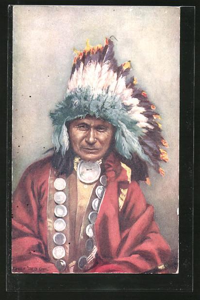 AK Indian Chiefs, Red Owl, Häuptling mit Federschmuck
