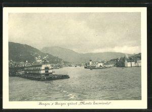 AK Bergen, Blick vom Passagierschiff Monte Sarmiento in den Hafen, Nordlandreisen