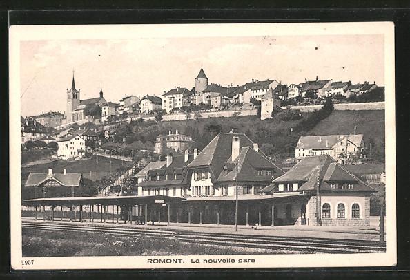 AK Romont, La nouvelle gare, Bahnhof von der Gleisseite