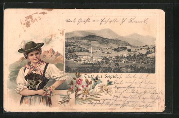 Passepartout-Lithographie Siegsdorf, Ortsansicht, junge Frau in Tracht