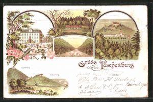 Lithographie Rinteln, Paschenburg, Restaurant Gebäude, Allee zur Paschenburg