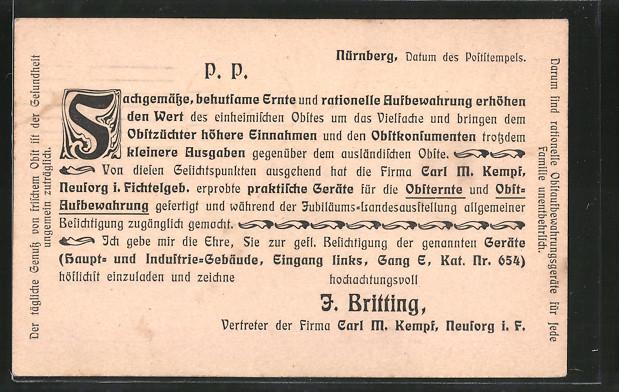 AK Ganzsache Bayern Wert 2+3 Pfennige: Nürnberg, Ankündigung eines Vertreters der Firma Carl M. Kempf