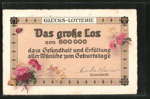 AK Glücks-Lotterie, das grosse Los von 500000
