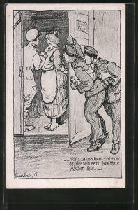 Künstler-AK Soldat flirtet mit einer Waschfrau und wird beobachtet