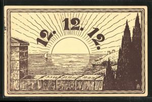 Künstler-AK Jahreszahl 12.12.12, Sonnenaufgang