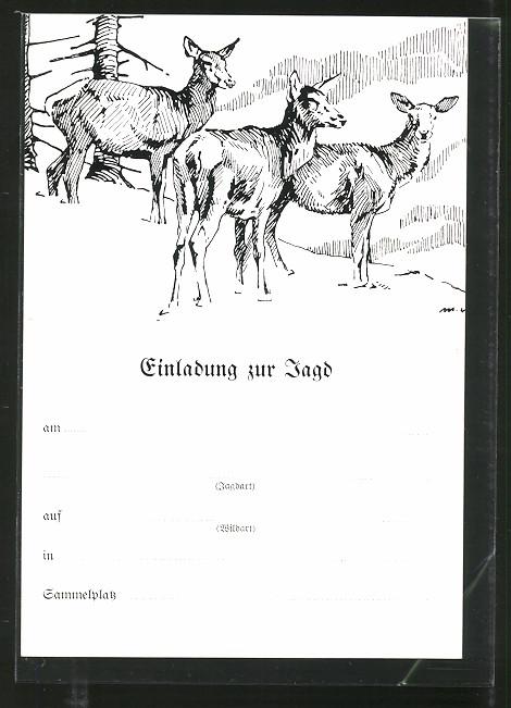ak einladung zur jagd, drei rehe nr. 7336142 - oldthing: sonstige, Einladung